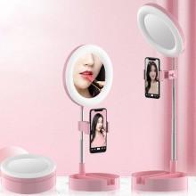 Настольное зеркало с подсветкой LED для макияжа круглое 16 см Live Makeup G3 Лампа сдержателемдлясмартфона HG-98