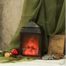 Фонарь ночник уют камина новогодний с эффектом живого огня Декоративный светильник G-57
