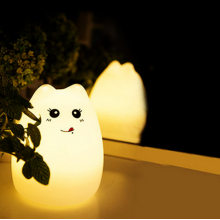 Силиконовый ночник котик детский LED лампа 7 цветов SS-87