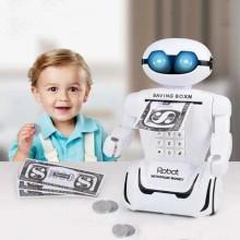 Сейф детский робот детская копилка сейф с кодовым замком PIGGY BANK игрушка сейф копилкадля ребенка LED