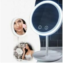 Зеркало косметическое с подсветкой и вентилятором настольное NuBrilliance для макияжа круглое и сенсорное с увиличением