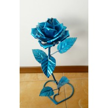 Кованная роза из металла на подарок на подставке ручной работы Rose Make Che S-777