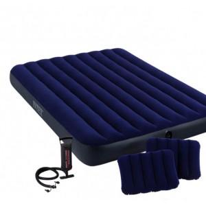 Матрас надувной Intex 68765, 152 х 203 х 22 см, с двумя подушками, насосом. Двухместный