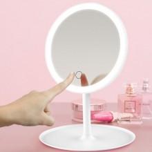 Зеркало настольное с подсветкой LED для макияжа круглое (W8) белое