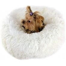 Лежак для собак и кошек 50 см Бело-молочный Maipets Подушка-Лежанка для кошек и собак (спальные места) кровать для домашних животных мягкая