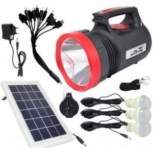Фонарь ручной светодиодный аккумуляторный мощный Yajia YJ-1908T с солнечной панелью и радиоприемником USB Power Bank SY-55