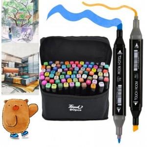 Набор двусторонних маркеров для скетчинга 80 цветов на спиртовой основе Touch  двусторонние фломастеры для рисования скетч F-2