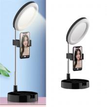 Настольное зеркало с подсветкой LED для макияжа круглое 16 см Live Makeup G3 Лампа сдержателемдлясмартфона черная KLD-787