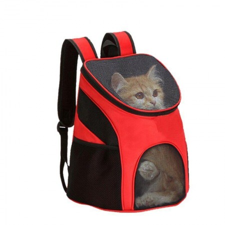 Рюкзак переноска для кошек и собак с прозрачной сеткой до 10 кг Красный FG-77